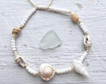 beach anklet, beachcomber boho jewelry, gift for her, shells