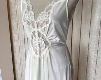 Eggshell white Satin Adonna nightgown , Petite M