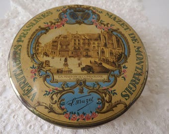 "French Candy Tin, ""Real Praslines, Mazet De Montargis"", Historic Advertising, French Confectioner Tin, First Candies of France, Circa 1910's"