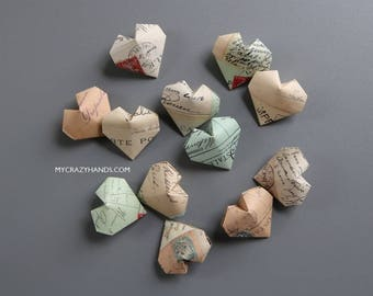 12 origami balloon hearts || texture paper heart favors | wedding hearts | gift for unisex || limited qty -Paris postcards