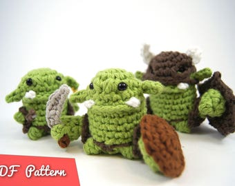 "PDF Pattern for Crocheted Orc Amigurumi Kawaii Keychain Miniature Doll ""Pod People"""