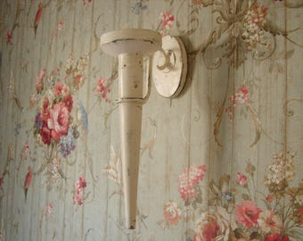 shabby chic,distressed cream,wall sconce, wood & iron, large,vintage, French candle holder 16.5'' h.