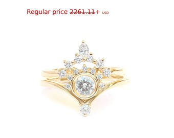 """Summer Sale! Natural Diamond Engagement Rings Set, Diamond """"Bliss"""" Ring with Matching Side Marquise Diamond Band, Unique Desiner Rings Diamo"""