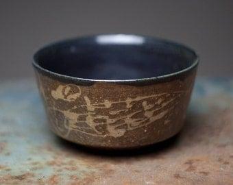 Brown black Wood fired ceramic stoneware pottery  bowl, chawan