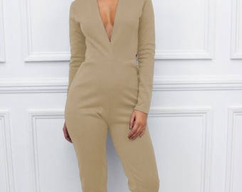 "ON SALE New Womens Ladies ""Nefeli"" Beige Long Sleeve Plunge Extreme  Low V Neckline Skinny Leg Jumpsuit"