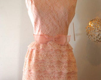 Vintage 1960s blush pink tiered lace cupcake romantic party dress