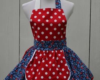 Patriotic Apron, 4th July Apron, Red White Blue Apron, Flower Apron Cute Apron