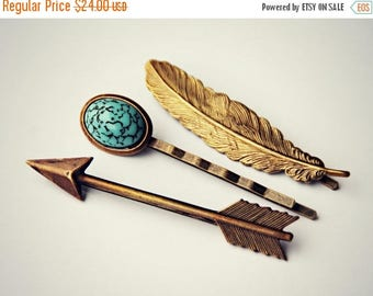 VACATION SALE arrow feather bobby pin set, turquoise bobby pin, feather bobby pin, arrow bobby pin, geometric hairpins, turquoise  hairpin,