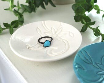 Handmade Wedding Ring Holder - Floral Turquoise or White Ceramic Engagement Ring Dish - Jewelry Holder - Engagement Gift / Shower Gift
