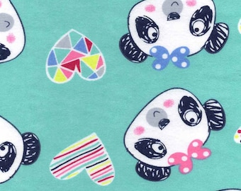 Snuggle Flannel Prints - Scribbled Pandas - 33 inches