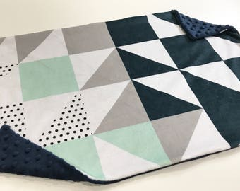 Grey and Navy Puzzle Baby Blanket Lovey, Baby Boy Minky Lovey, Grey Navy and Mint Puzzle Wholecloth Blanket, Ready to Ship, Baby Boy Blanket