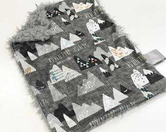 Mountains Baby Boy MINKY Lovey Blanket, MINI Minky Baby Blanket, Taggie Blanket, Adventure Awaits Charcoal Lovey Blanket, Baby Shower Gift