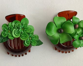 All GREEN Medium Leather Flower Hair Comb Barrette Clip little bond holder