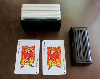 1935 KEM Playing Cards Two Decks in Bakelite Case Made in USA