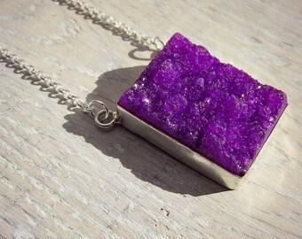 Long Druzy Necklace - Purple Druzy - Layering Necklace - Statement Necklace - Long Silver Necklace - Long Necklace - Long Boho Necklace