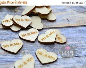 "ON SALE FLATBACK - Wooden Heart ""Mr & Mrs"" Embellishments Confetti 1""x 0.75"" - Flower Centers - Wedding Garter Embellishment - Wood Supplies"
