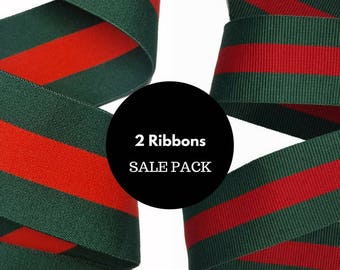 Striped red and green pack of ribbons trims, Sale pack of mixed ribbons for fashion and crafts