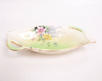Antique Royal Winton Grimwades ROSA Handled Bowl Made in England Pastel Florals Candy Dish
