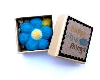 Felt Brooch - Blue Flower