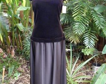 1/2 OFF Vintage Tadashi Brown Satin & Velvet Vintage Dress, NWT, 12' Sweep, 1990's, Rhinestones, sz M