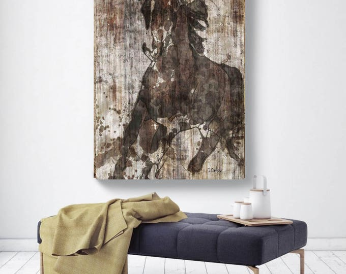 "Running Horse. Large Horse, Unique Horse Wall Decor, Brown Rustic Horse, Large Contemporary Canvas Art Print up to 72"" by Irena Orlov"