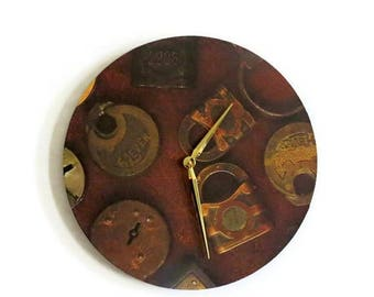 Rustic Wall  Clock, Vintage Locks, Unique Wall Clock, Decor and Housewares, Home Decor, Home and Living,  Gift Idea
