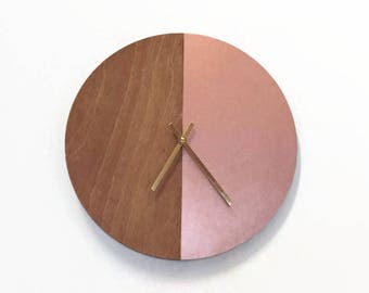 Wall Clock, Rose Gold Wood Clock, Ready To Ship, Home and Living, Home Decor, Clocks