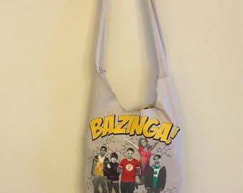 Bazinga repurposed tshirt boho bag