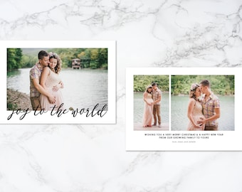 Printable Double Sided Joy to the World Modern Holiday/Christmas Growing Family Pregnancy Photo Card