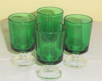 Set 4 Luminarc Durand FRANCE Green & Clear Cavalier Cordial Shot BAR BARWARE Glasses