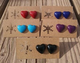 Resin Heart Stud Earrings - Heart Studs Earrings - Turquoise Black Blue Coral Purple Heart Earrings - Luxie Creations