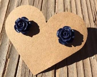 Navy Blue Rose Bud Stud Earrings - Rose Bud Earrings - Rosebud Earrings - Resin Flower Roses Earrings - Luxie Creations