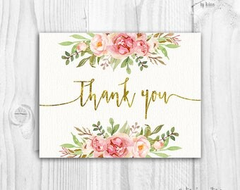 Floral thank you cards, baby shower floral thank you card, boho thank you card, blush floral thank you card, pink floral, instant download