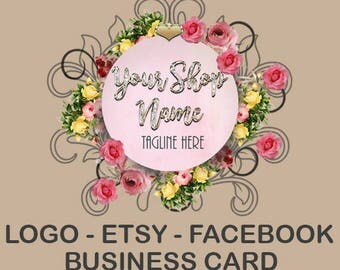 LOGO BUSINESS BRANDING 5 Piece Set-Etsy Shop Set-Facebook Timeline-Business Card-Complete Etsy Set-Logo Premade-Elegant Logo