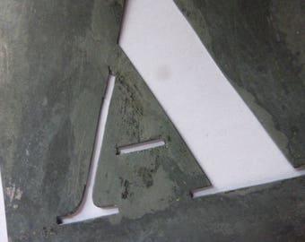Large Vintage Stencil Letter,  French, Zinc, Letter, Initial A.