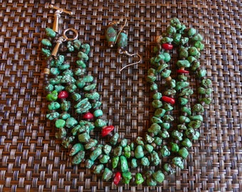 20 Inch Green Turquoise and Coral Double Strand Necklace with Earrings