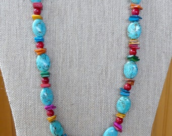 21 Inch Turquoise and Red Sponge Coral with Colorful Mother of Pearl Necklace with Earrings