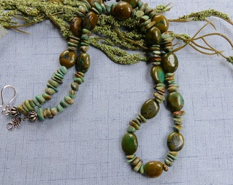 26 Inch Vintage 1980s Natural Green Turquoise Necklace with Earrings