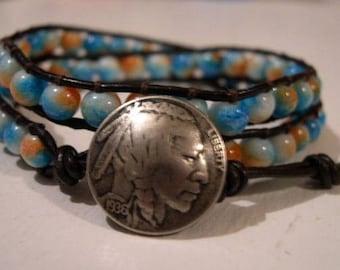 Beaded wrap bracelet, Beaded LeatherWrap, Boho bracelet - 927