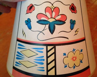 cute small vintage lampshade with folksy floral motif