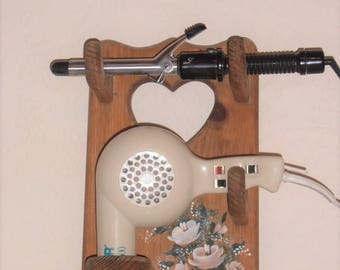 Vintage Tole Painted Curling Iron / Blow Dryer Holder