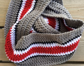 Crochet Ohio State Infinity Scarf, loop scarf, college football