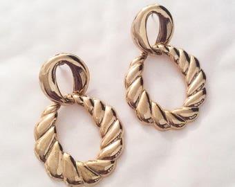 Dangle Earrings, Hoop, Gold Tone  Victorian Revival, Vintage Jewelry SPRING SALE