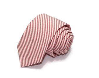 Coral Stripe Seersucker Necktie~Cotton Necktie~Anniversary Gift~Wedding Tie~Mens Gift~Cotton Tie~Mens Tie~Coral Tie