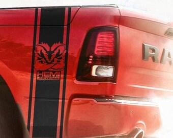 Side Stripes Truck Ram Muscle Hemi Powered Vinyl Stickers Decal 10'' x 38''