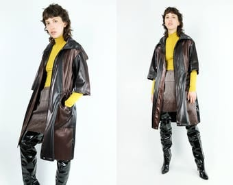 Vtg Striped Black & Copper PVC Coat