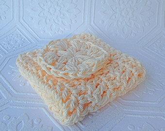 Crochet Bath Set, Crochet Spa Set, 100% Cotton, Washcloth and Face Pad, Eco Friendly Bath Set, Crochet Bath Set, Cotton Bath Set