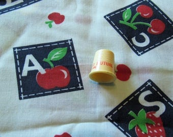 alphabet and fruit novelty print cottonblend fabric -- 44 wide by 1 1/8 yard