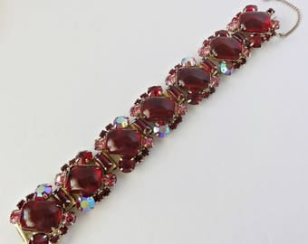 1960's Bracelet Red and Pink Rhinestones Large Red Lucite Cabochons Hidden Clasp Safety Chain 7 Inches Long