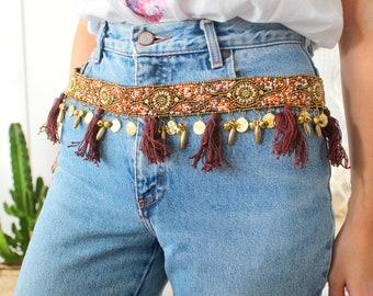 ceinture perles, sequins, pompons hippie